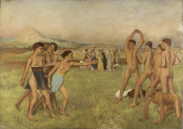 Edgar Degas-Petites filles spartiates provoquant des garçons