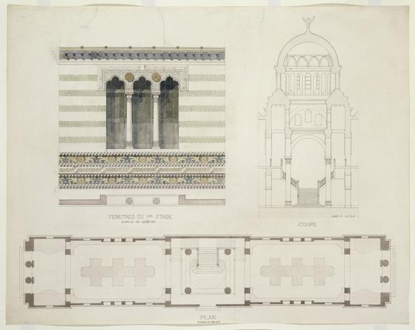 Jean-Camille Formigé-Projet pour l'Exposition Universelle de 1889, façade du Palais des Beaux-Arts