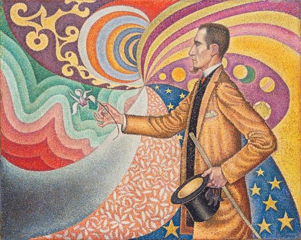 Paul Signac-Portrait de Fénéon. Opus 217. Sur l'émail d'un fond rythmique de mesures et d'angles, de tons et de teintes, portrait de M. Félix Fénéon en 1890