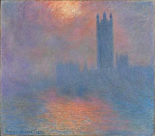 Fleuve, Londres, le Parlement. Trouée de soleil dans le brouillard, Barye Antoine Louis (1795-1875) peintre, sculpteur ,, Monet, Claude