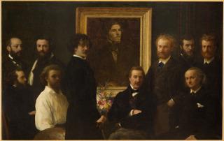 Edouard Manet (détail du tableau Hommage à Delacroix), Fantin-Latour Ignace Henri Jean Théodore (1836-1904) peintre,, Fantin-Latour, Henri
