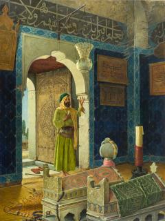 Vieil homme devant des tombeaux d'enfants, Hamdy-Bey Osman Edhem Pacha Zadeh (1842-1910) ,, Hamdy Bey, Osman