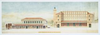 Restitution du forum de la ville antique de Timgad, coupe longitudinale restaurée, côté Est, Ballu, Albert