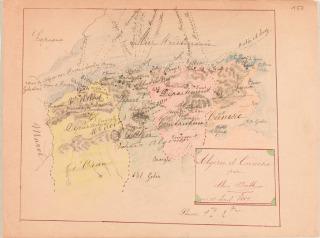 Feuillet de carnet, carte de l'Algérie et de la Tunisie, Carte d'Algérie et de Tunisie, Boitte Louis-François-Philippe (1830-1906) architecte,, Boitte, Alice