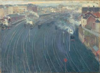 Vue de la gare du Luxembourg à Bruxelles, Ottmann, Henri