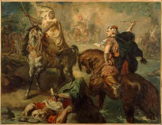Chefs de tribus arabes se défiant au combat singulier, sous les remparts d'une ville, Chassériau, Théodore